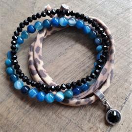 Blauw, dierprint en zwart