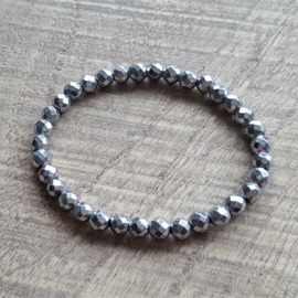 Hematite Silver Facet 6 mm  [1894]