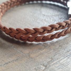 Lichtcognac Leer Gevlochten Armband  [1328]