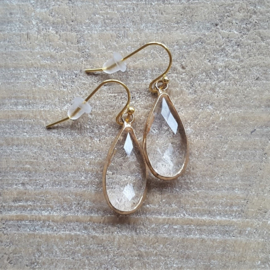 Crystal Facetted Long Drops Gold  [8351]