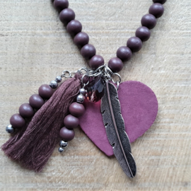 Dark Aubergine Wooden Indian Ketting [2715]