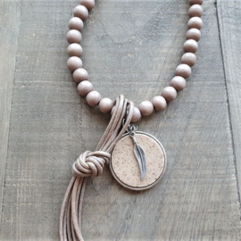 Lava Wooden Indian Ketting  [2966]
