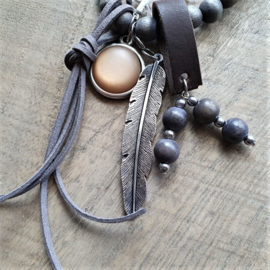 Brown Wooden Indian Ketting  [2919]