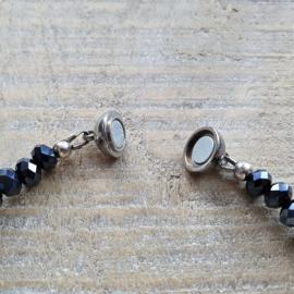 Donkerblauwe Facetketting  6 x 4 mm met Magneetsluiting  [2830]