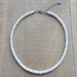 Glanzend Witte Facet Ketting 6 mm  [2809]