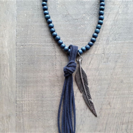 Blue Wooden Fine Ketting  [2937]