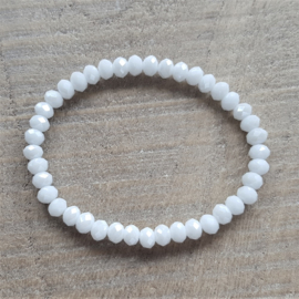 Glanzend Witte Facet Armband  [1117]