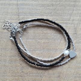 Armbandje Mini Taupegrijs Hematite Hart Zilver/Goud   [1148]