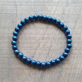 Knalblauwe Hematite Armband 6 mm  [1209]