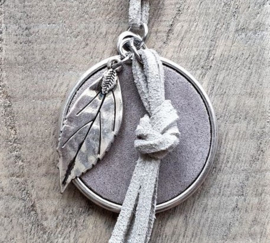 Ketting Leer Taupe Beautiful Leaf XXL  [2917]