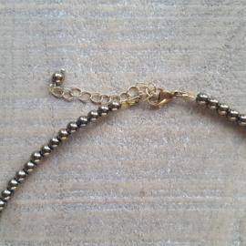 Hematite Antiek Goud Ketting 4 mm  [2695]