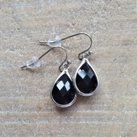 Black Facetted Crystal Drops  [8340]