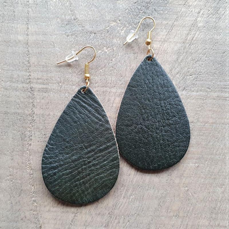 Donkergroene Leren Oorbeldruppels aan Goud/Zilver  [8437]