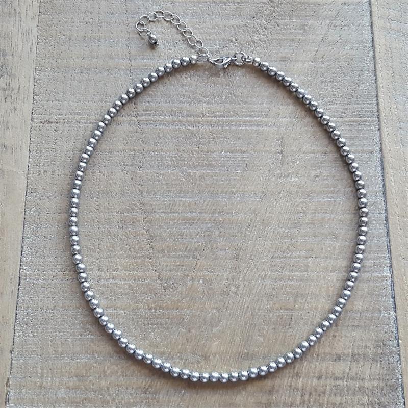 Hematite Zilver Ketting 4 mm  [2808]