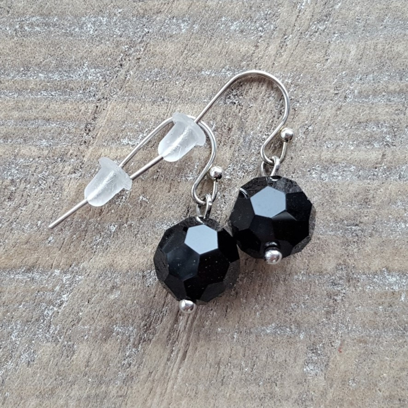 Crystal Black Facet Balls  [8165]