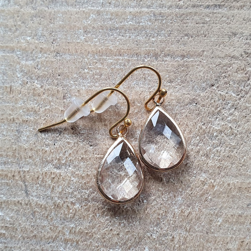 Tranparant Facetted Crystal Drops Gold  [8397]