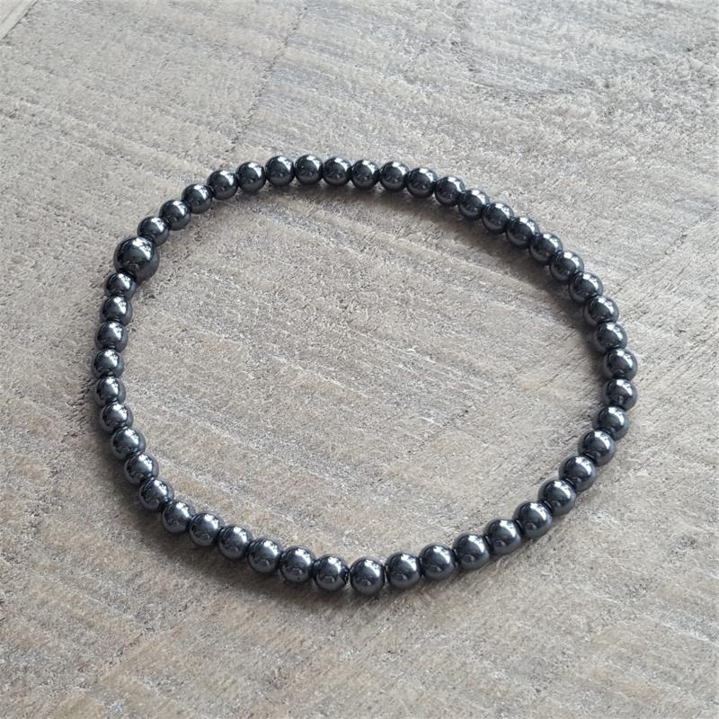 Dark Hematite 4 mm Armband  [1108]