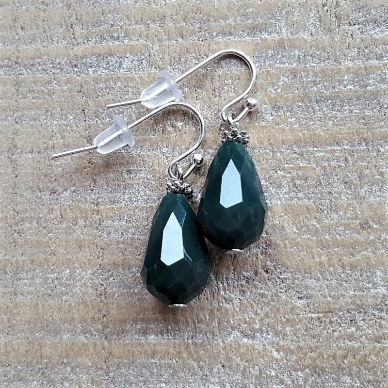 Dark Green Crystal Drops 16 mm  [8347]