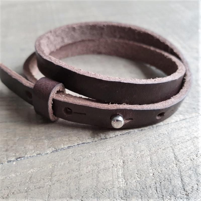 Leren Armband Donkerbruin  [1160]