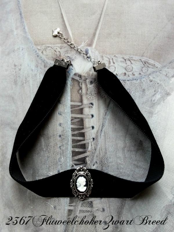 Fluweelchoker Zwart Breed  [2367]
