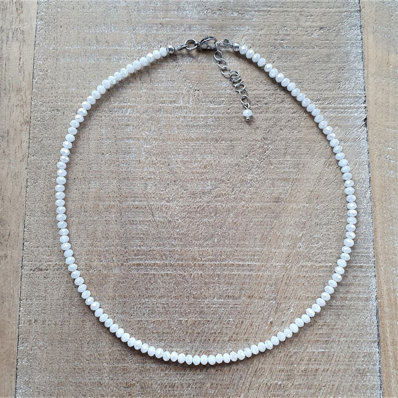 Glanzend Witte Facet Ketting 4 mm  [2896]