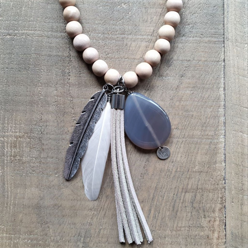Romantic Wooden Indian Ketting  [7020]