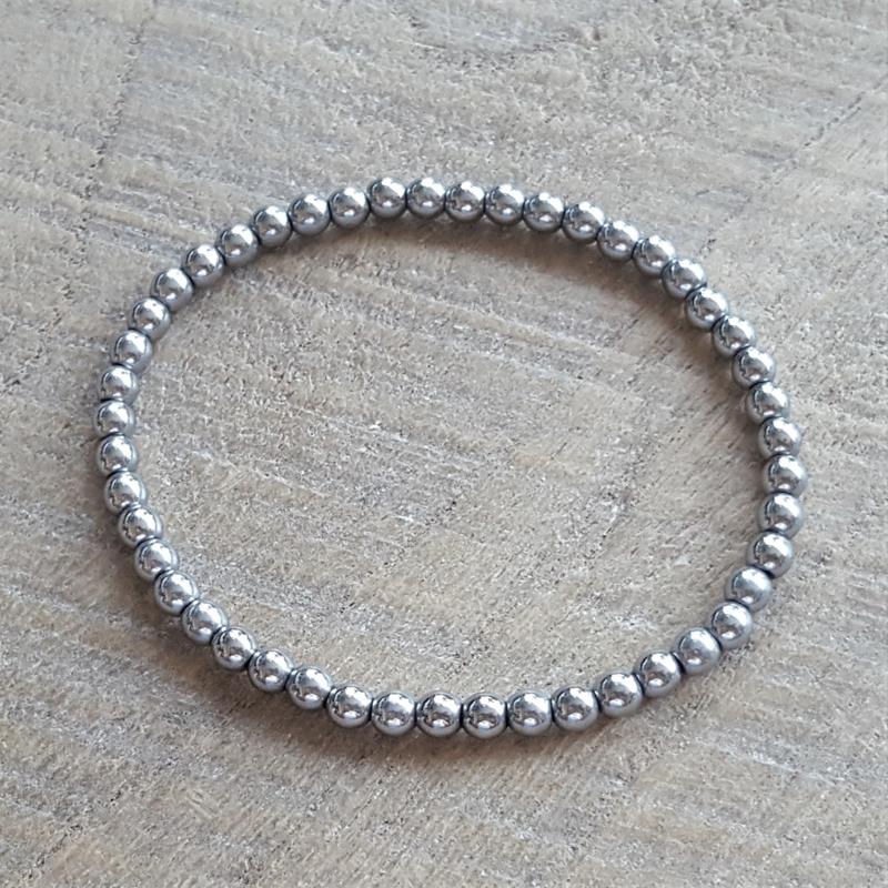 Hematite Zilver Round 4 mm  [1116]