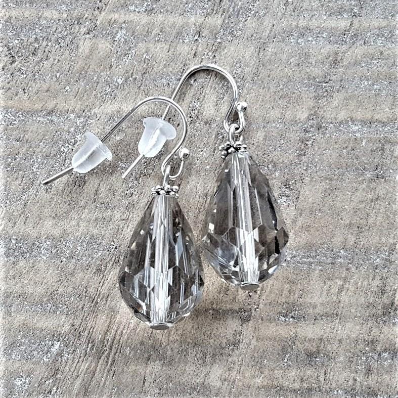 Smokey Grey Crystal Drops 18 mm  [8231]