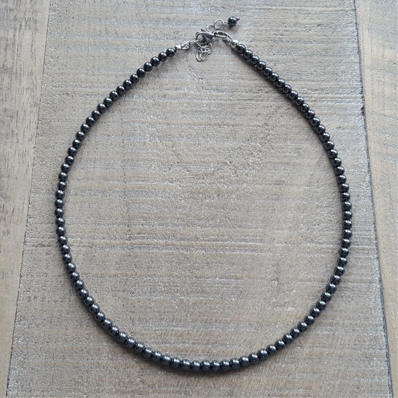 Dark Hematite 4 mm Ketting  [2805]