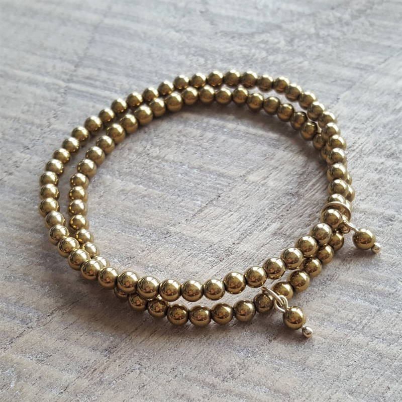 Hematite Goud Armband 4 mm  [1045]