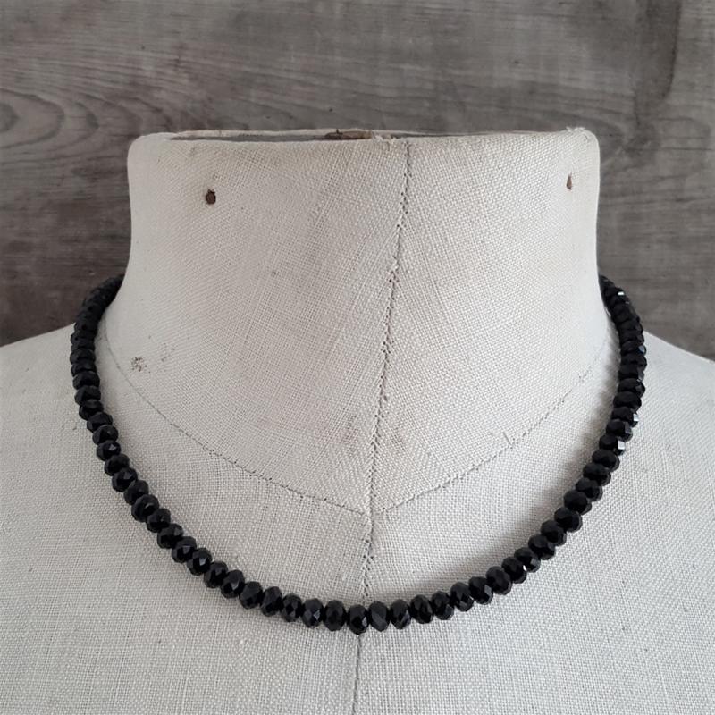 Zwarte Facet Ketting 6 mm  [2299]
