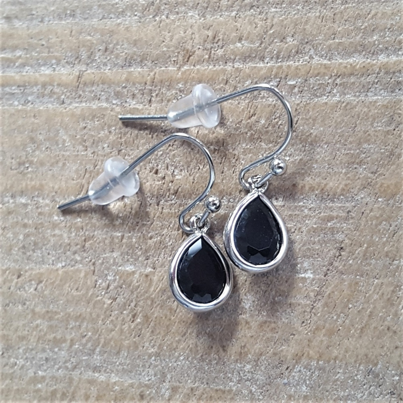 Little Black Facetted Crystal Drops  [8365]