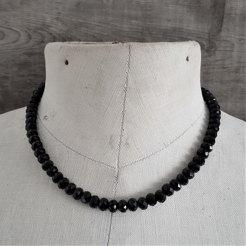 Zwarte Facet Ketting 8 mm  [2304]