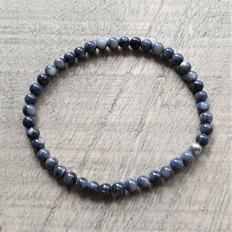 Armband Blauw/Blauwgrijze Parelmoer 4 mm  [1188]