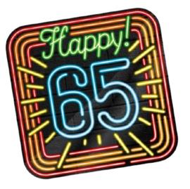Huldeschild Neon 65 Jaar 50 x 50 cm karton zwart