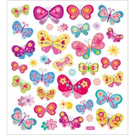 Stickers, vel 15x16,5 cm, circa 37 stuk, vlinders, 1vel