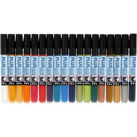 Plus Color Marker, lijndikte: 1-2 mm, l: 14,5 cm, diverse kleuren, 18stuks