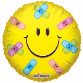 Folieballon Get Well Soon Smiley 46 cm geel