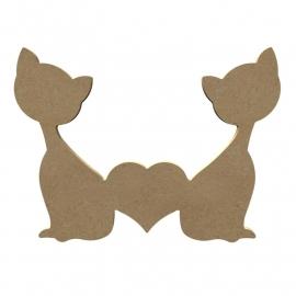 Katten met hartje 21 X 15 cm