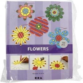 Kartonnen Bloemen, d: 20 cm, 400 gr, wit, 100stuks (GrV) (Teach Me)