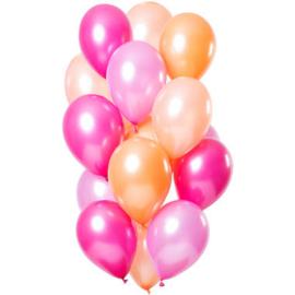 Ballonnen Peachy Flamingo Metallic 30cm - 15 stuks