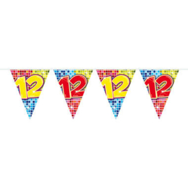 Vlaggenlijn mini  Birthday Blocks 12 Jaar - 3 meter