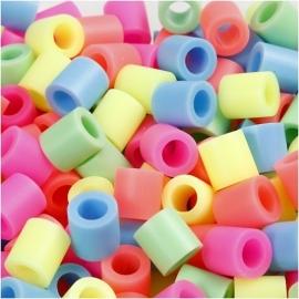 Strijkkralen JUMBO afm 10x10 mm, pastelkleuren, (3200 assorti)