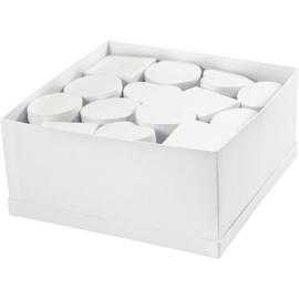 Dozen in displaybox, d: 10-12 cm, h: 5 cm, wit, 27stuks