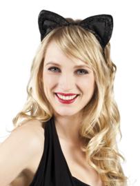 Tiara Kattenoren velvet zwart