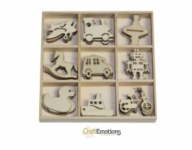 Houten ornamenten - Speelgoed 45 pcs - box 10,5 x 10,5 cm