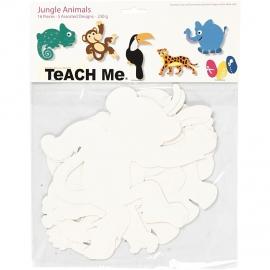 Kartonnen Jungledieren, h: 14-25 cm, 16 assorti, 230 gr (Teach Me)