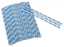 Rietjes stippen junior 19 cm papier blauw/wit 25 stuks