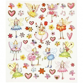 Fancy glitter stickers, vel 15x16,5 cm, elfen, 1vel