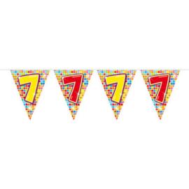Vlaggenlijn mini  Birthday Blocks 7 Jaar - 3 meter